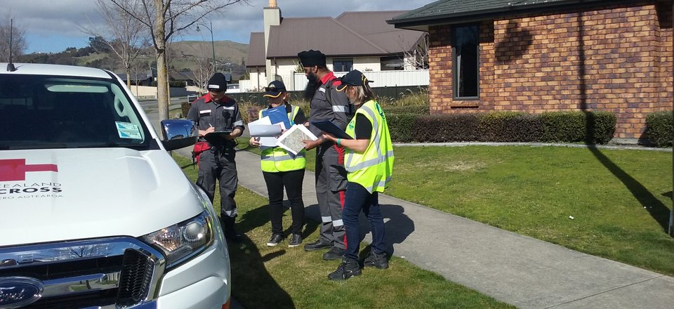 Red Cross volunteers door knocking during the Havelock North gastro outbreak, 2016