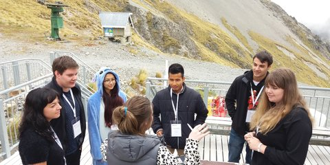 Prakriti Chhetri (3rd from left) talks with young people at the youth forum