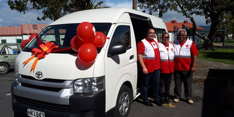 Community transport volunteers on their first day delivering the service in Edgecumbe