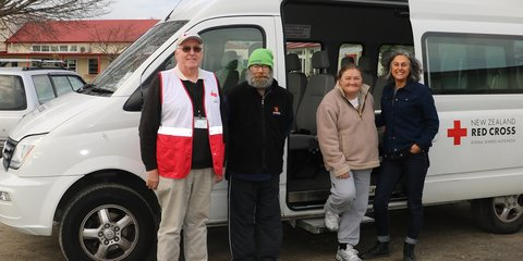 Community transport volunteer Bruce Browne, two of his passengers and Kim Morton, Creative Spaces Manager.