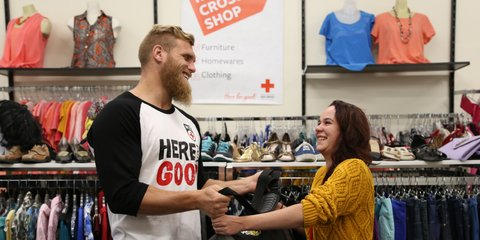 Brad donates clothes to our Petone store