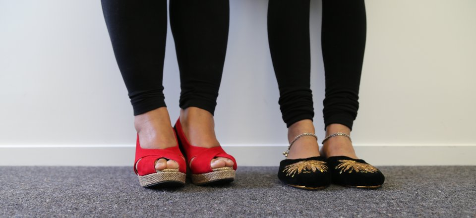 Hawa and Mani swapped Indonesian flat shoes and Indian heels