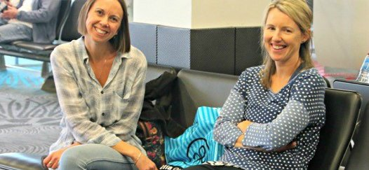 Nicole Quinton and Cherie Sharp relax at the airport after saving a life