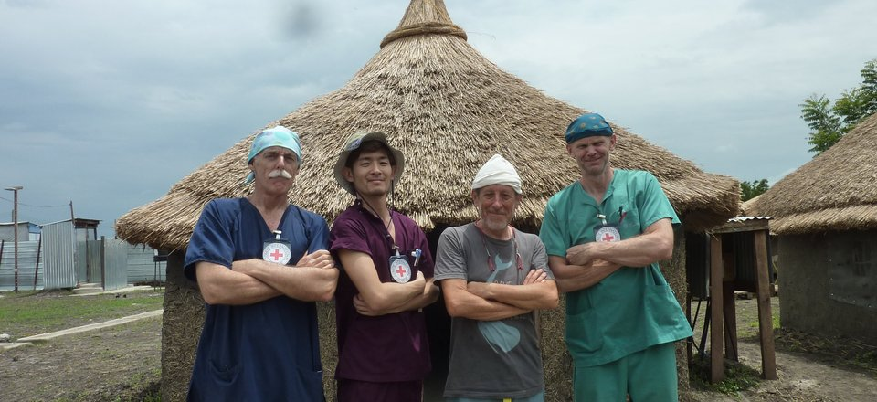 Andrew Cameron and his crew in Kodok, South Sudan