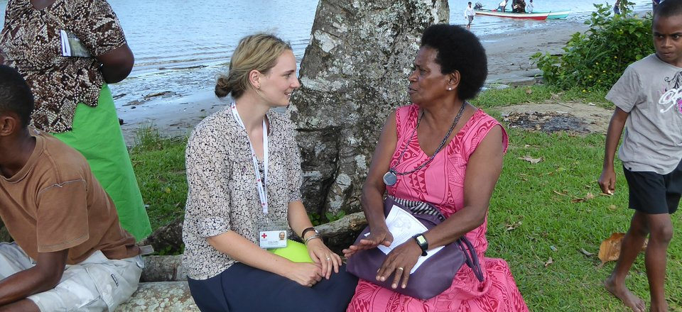 Psychosocial support aid worker Holly Griffin in action in Fiji