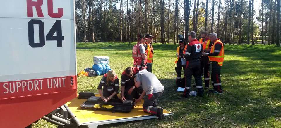 Volunteers train at a recent Rural Outreach Group exercise in Christchurch