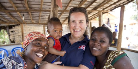 Chelsea, a Red Cross aid worker, meets the locals in Kenya